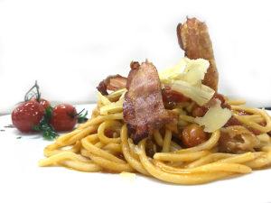 Scialatelli con pancetta affumicata e caciocavallo